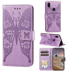 Intricate Embossing Rose Flower Butterfly Leather Wallet Case for Xiaomi Mi Redmi Note 7 / Note 7 Pro - Purple