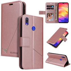 GQ.UTROBE Right Angle Silver Pendant Leather Wallet Phone Case for Xiaomi Mi Redmi Note 7 / Note 7 Pro - Rose Gold