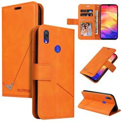 GQ.UTROBE Right Angle Silver Pendant Leather Wallet Phone Case for Xiaomi Mi Redmi Note 7 / Note 7 Pro - Orange
