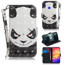 Angry Bear 3D Painted Leather Wallet Phone Case for Xiaomi Mi Redmi Note 7S
