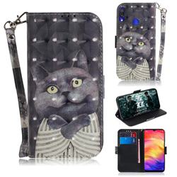 Cat Embrace 3D Painted Leather Wallet Phone Case for Xiaomi Mi Redmi Note 7S