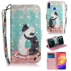 Black and White Cat 3D Painted Leather Wallet Phone Case for Xiaomi Mi Redmi Note 7S