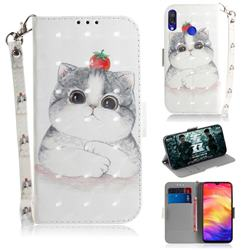 Cute Tomato Cat 3D Painted Leather Wallet Phone Case for Xiaomi Mi Redmi Note 7S