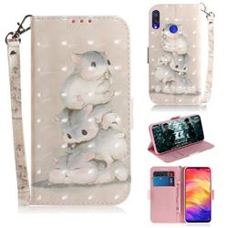 Three Squirrels 3D Painted Leather Wallet Phone Case for Xiaomi Mi Redmi Note 7S