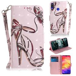 Butterfly High Heels 3D Painted Leather Wallet Phone Case for Xiaomi Mi Redmi Note 7S