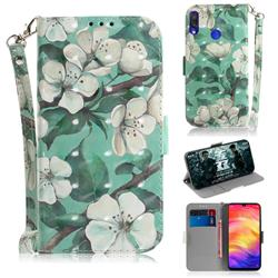Watercolor Flower 3D Painted Leather Wallet Phone Case for Xiaomi Mi Redmi Note 7S
