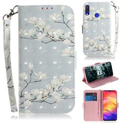 Magnolia Flower 3D Painted Leather Wallet Phone Case for Xiaomi Mi Redmi Note 7S