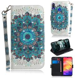 Peacock Mandala 3D Painted Leather Wallet Phone Case for Xiaomi Mi Redmi Note 7S