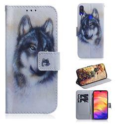 Snow Wolf PU Leather Wallet Case for Xiaomi Mi Redmi Note 7S