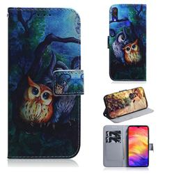 Oil Painting Owl PU Leather Wallet Case for Xiaomi Mi Redmi Note 7S