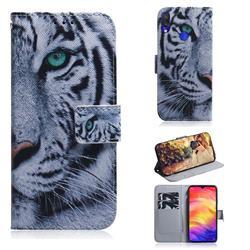 White Tiger PU Leather Wallet Case for Xiaomi Mi Redmi Note 7S