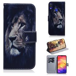 Lion Face PU Leather Wallet Case for Xiaomi Mi Redmi Note 7S