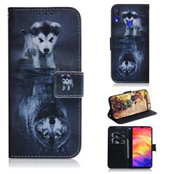 Wolf and Dog PU Leather Wallet Case for Xiaomi Mi Redmi Note 7S