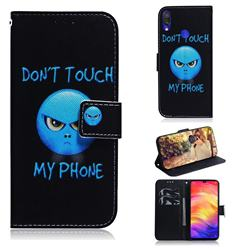 Not Touch My Phone PU Leather Wallet Case for Xiaomi Mi Redmi Note 7S