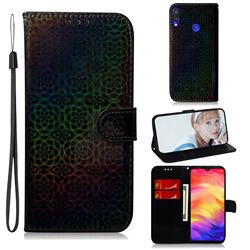 Laser Circle Shining Leather Wallet Phone Case for Xiaomi Mi Redmi Note 7S - Black