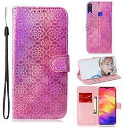Laser Circle Shining Leather Wallet Phone Case for Xiaomi Mi Redmi Note 7S - Pink