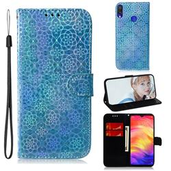 Laser Circle Shining Leather Wallet Phone Case for Xiaomi Mi Redmi Note 7S - Blue