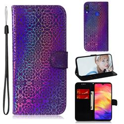 Laser Circle Shining Leather Wallet Phone Case for Xiaomi Mi Redmi Note 7S - Purple