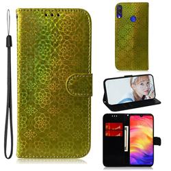 Laser Circle Shining Leather Wallet Phone Case for Xiaomi Mi Redmi Note 7S - Golden