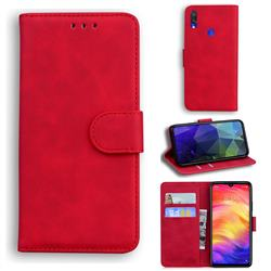 Retro Classic Skin Feel Leather Wallet Phone Case for Xiaomi Mi Redmi Note 7S - Red