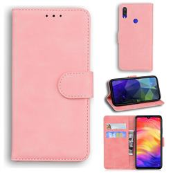 Retro Classic Skin Feel Leather Wallet Phone Case for Xiaomi Mi Redmi Note 7S - Pink