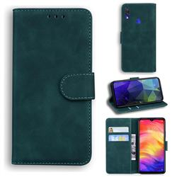 Retro Classic Skin Feel Leather Wallet Phone Case for Xiaomi Mi Redmi Note 7S - Green