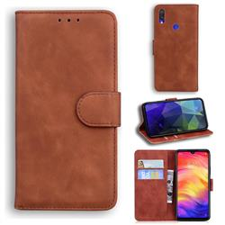 Retro Classic Skin Feel Leather Wallet Phone Case for Xiaomi Mi Redmi Note 7S - Brown