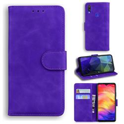 Retro Classic Skin Feel Leather Wallet Phone Case for Xiaomi Mi Redmi Note 7S - Purple