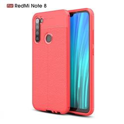Luxury Auto Focus Litchi Texture Silicone TPU Back Cover for Mi Xiaomi Redmi Note 8 - Red