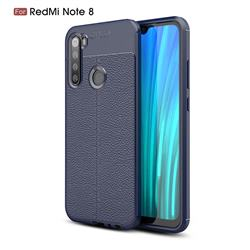 Luxury Auto Focus Litchi Texture Silicone TPU Back Cover for Mi Xiaomi Redmi Note 8 - Dark Blue