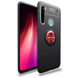 Auto Focus Invisible Ring Holder Soft Phone Case for Mi Xiaomi Redmi Note 8 - Black Red