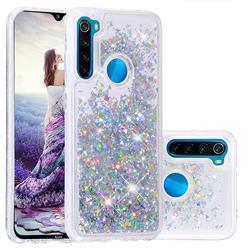 Dynamic Liquid Glitter Quicksand Sequins TPU Phone Case for Mi Xiaomi Redmi Note 8 - Silver