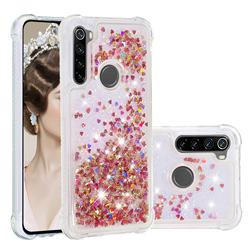 Dynamic Liquid Glitter Sand Quicksand TPU Case for Mi Xiaomi Redmi Note 8 - Rose Gold Love Heart