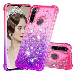 Rainbow Gradient Liquid Glitter Quicksand Sequins Phone Case for Mi Xiaomi Redmi Note 8 - Pink Purple