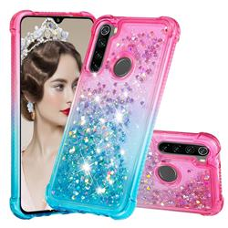 Rainbow Gradient Liquid Glitter Quicksand Sequins Phone Case for Mi Xiaomi Redmi Note 8 - Pink Blue