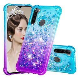 Rainbow Gradient Liquid Glitter Quicksand Sequins Phone Case for Mi Xiaomi Redmi Note 8 - Blue Purple