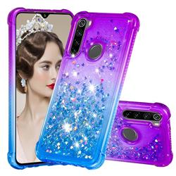 Rainbow Gradient Liquid Glitter Quicksand Sequins Phone Case for Mi Xiaomi Redmi Note 8 - Purple Blue
