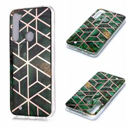 Green Rhombus Galvanized Rose Gold Marble Phone Back Cover for Mi Xiaomi Redmi Note 8