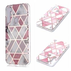 Pink Rhombus Galvanized Rose Gold Marble Phone Back Cover for Mi Xiaomi Redmi Note 8