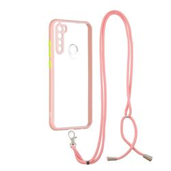 Necklace Cross-body Lanyard Strap Cord Phone Case Cover for Mi Xiaomi Redmi Note 8 - Pink