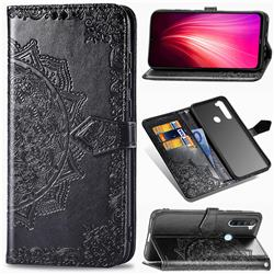 Embossing Imprint Mandala Flower Leather Wallet Case for Mi Xiaomi Redmi Note 8 - Black