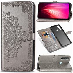 Embossing Imprint Mandala Flower Leather Wallet Case for Mi Xiaomi Redmi Note 8 - Gray