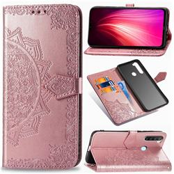 Embossing Imprint Mandala Flower Leather Wallet Case for Mi Xiaomi Redmi Note 8 - Rose Gold