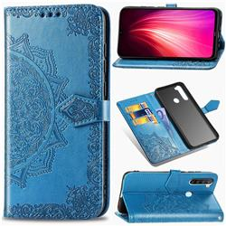 Embossing Imprint Mandala Flower Leather Wallet Case for Mi Xiaomi Redmi Note 8 - Blue