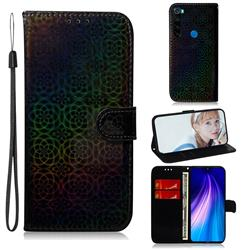 Laser Circle Shining Leather Wallet Phone Case for Mi Xiaomi Redmi Note 8 - Black