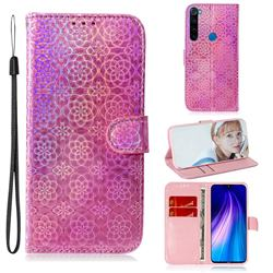 Laser Circle Shining Leather Wallet Phone Case for Mi Xiaomi Redmi Note 8 - Pink