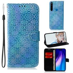Laser Circle Shining Leather Wallet Phone Case for Mi Xiaomi Redmi Note 8 - Blue