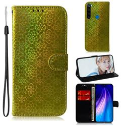 Laser Circle Shining Leather Wallet Phone Case for Mi Xiaomi Redmi Note 8 - Golden