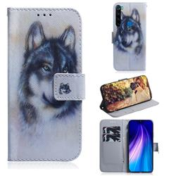 Snow Wolf PU Leather Wallet Case for Mi Xiaomi Redmi Note 8