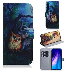 Oil Painting Owl PU Leather Wallet Case for Mi Xiaomi Redmi Note 8